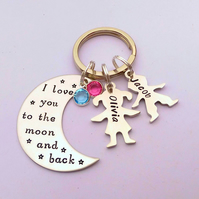 I love you to the moon and back personalised keyring