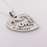 Personalised heart LOVE necklace