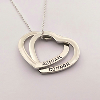 Interlinking hearts personalised necklace - russian wedding ring heart necklace