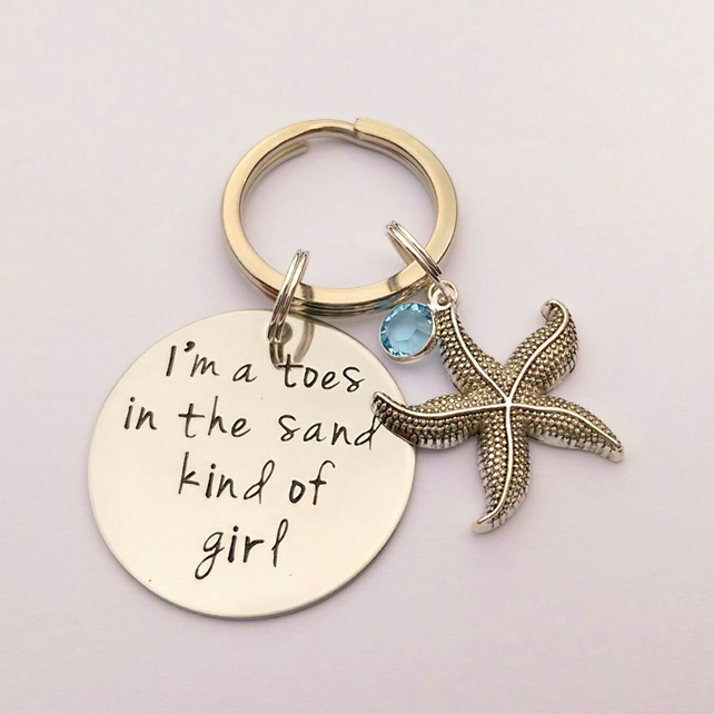 The sea calls me hand stamped starfish keyring - beach ocean holiday keyring