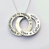 I love you to the moon and back Interlinking circles personalised necklace