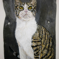 'Cat & Bee' Painting on Welsh Slate