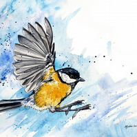 Limited Edition A4 Giclee Print of 'Crash' the Great Tit
