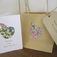 Thank You Teacher Gift Bag and Greetings Card Set