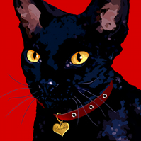 Lucky black cat greeting card