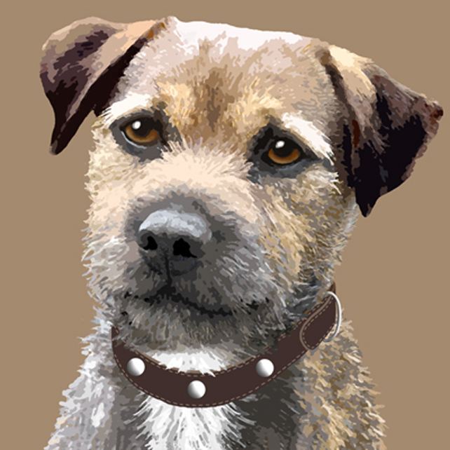 Border terrier dog greeting card