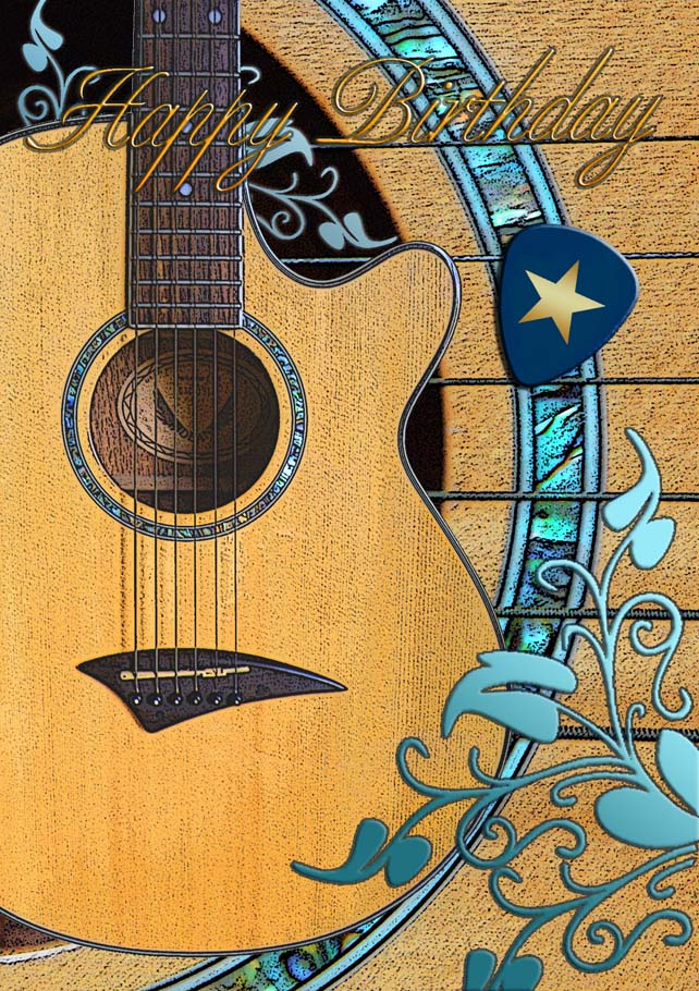 'Star Pix' acoustic guitar greeting card