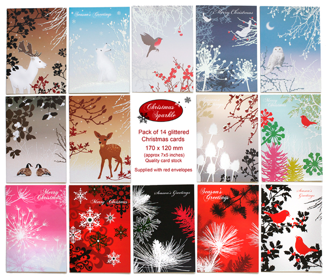 Pack of 14 glittered christmas cards