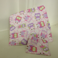 Children's owl fabric placemat and coaster