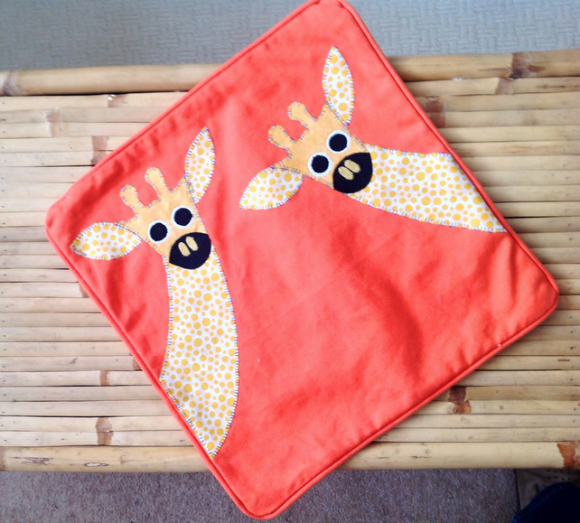 Giraffe Appliquéd Cushion Cover