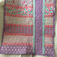 Pretty pink birds and love hearts childrens quilt