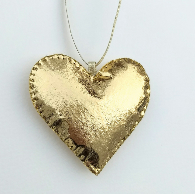 Gold leather effect heart decoration