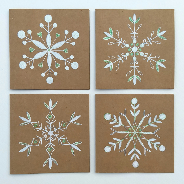 Pack of 4 hand drawn snowflake cards (set 2)