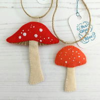 Pair of toadstool decorations