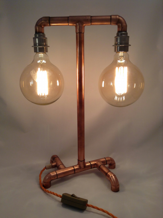 Hand Made   Copper Pipe   Industrial Table Lamp   Bulbs Not Included.