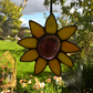 Larger Sized Yellow 9 Petal Stained Glass Flower --- 40003