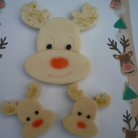 christmas novelty rudolph reindeer soaps x 3