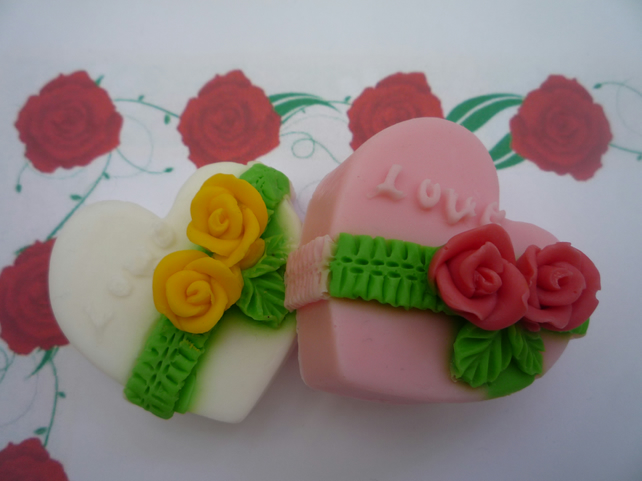 mothers day valentine decorative heart soaps x 2