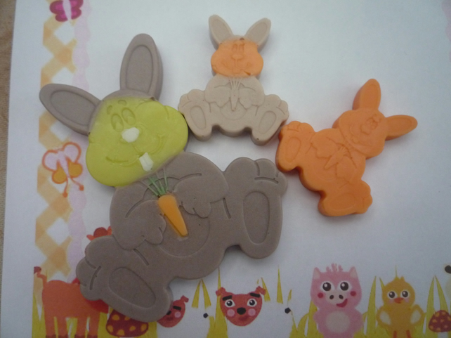 decorated bunny soaps x 3