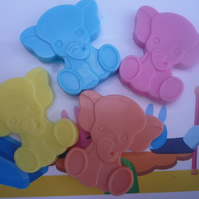 cute elephant novelty handmade childrens soaps x 4