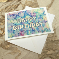 'Happy Birthday - Fireworks in Silk' Card