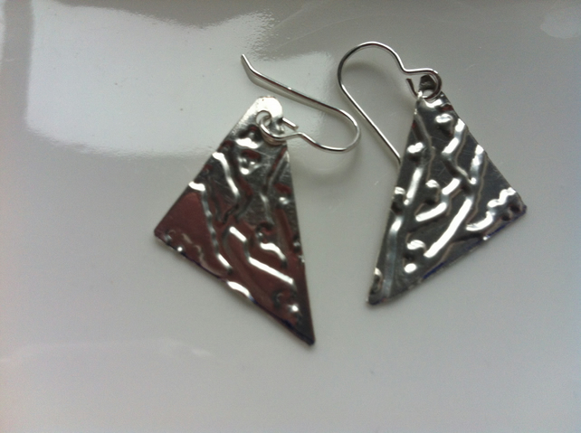 Sterling Silver Geometric  Earrings Textured Triangular Earrings
