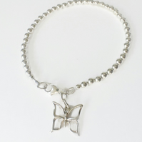 Sterling Silver Ball Butterfly Charm Bracelet Beaded Contemporary Jewellery Gift