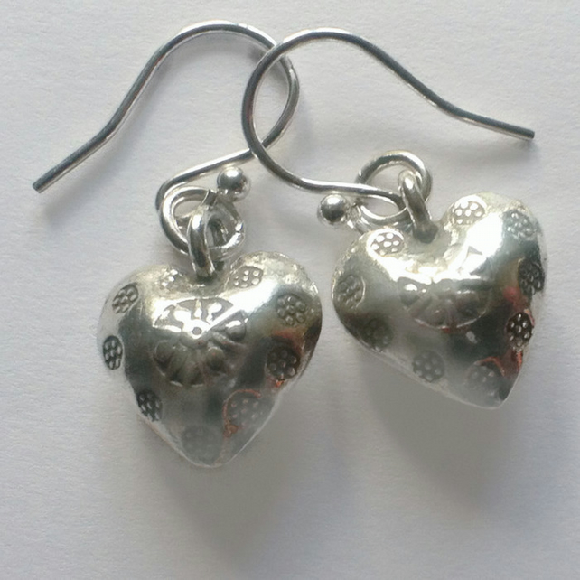 Sterling Silver Puffy Heart Earrings Dangle Drop