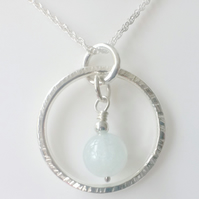 Blue Aquamarine Circle Pendant Necklace Sterling Silver Pendant