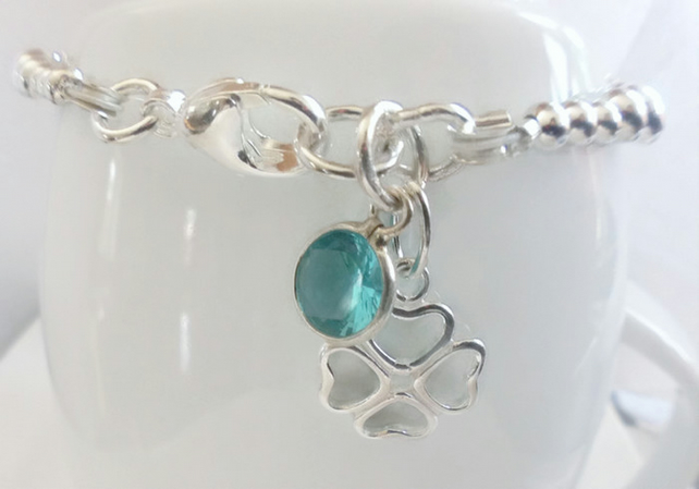 Blue Four Leaf Clover Sterling Silver Ball Bracelet Aqua Blue Cubic Zirconia