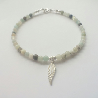 Blue Amazonite Angel Wing Charm Bracelet, Sterling Silver Bracelet