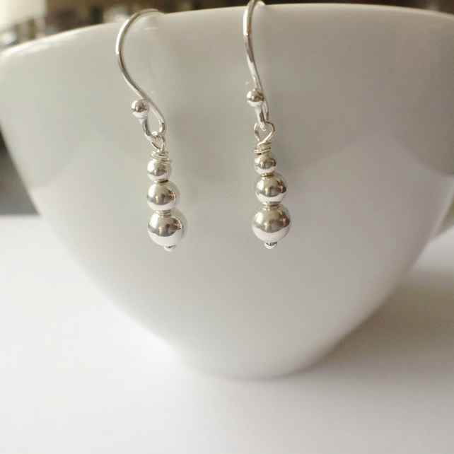 Sterling Silver Ball Bead Dangle Earrings Long Drop Bridal Bridesmaid Gift