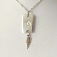 Sterling Silver OHM Angel Wing Charm Necklace