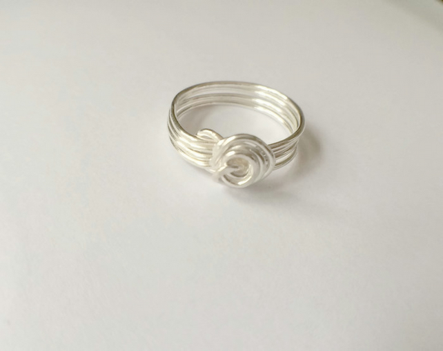 Sterling Silver Knot Stack Ring Wire Wrapped