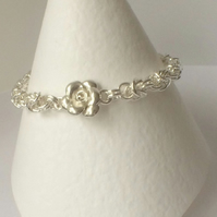 Sterling Silver Rose Chainmaille Bracelet with Toggle Clasp Silver Link Bracelet