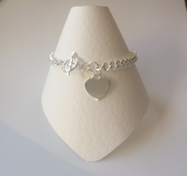 Sterling Silver Heart Charm Curb Chain Bracelet, Toggle Clasp