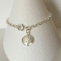 Sterling Silver Tree of Life Charm Bracelet Chain Bracelet Jewellery Bridesmaid