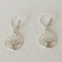 Sterling Silver Tree of Life Long Dangle Leverback Earrings