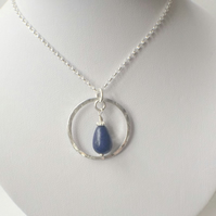 Sterling Silver Blue Lapis Lazuli Circle Pendant Necklace Gemstone