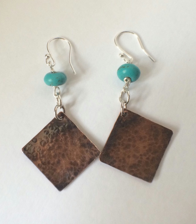 Sterling Silver Copper Turquoise Long Dangle Earrings Patina Diamond Shape