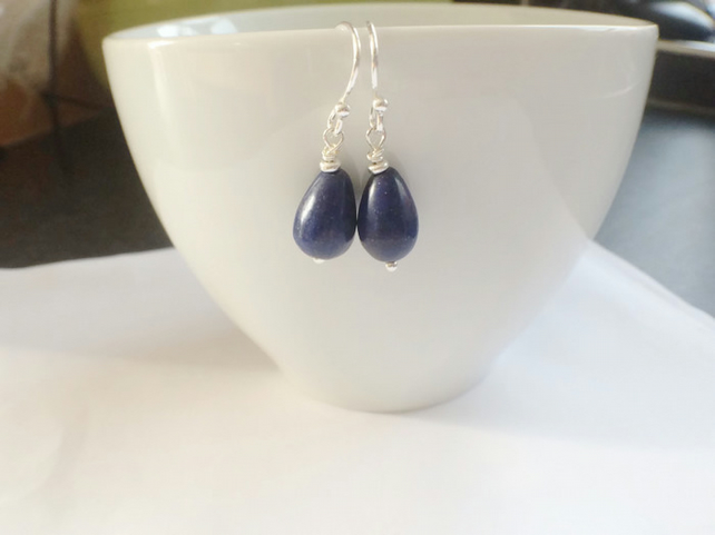 Blue Lapis Lazuli Teardrop Sterling Silver Dangle Earrings Gemstone