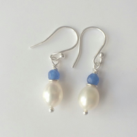 Blue Sapphire White Pearl Sterling Silver Dangle Earrings