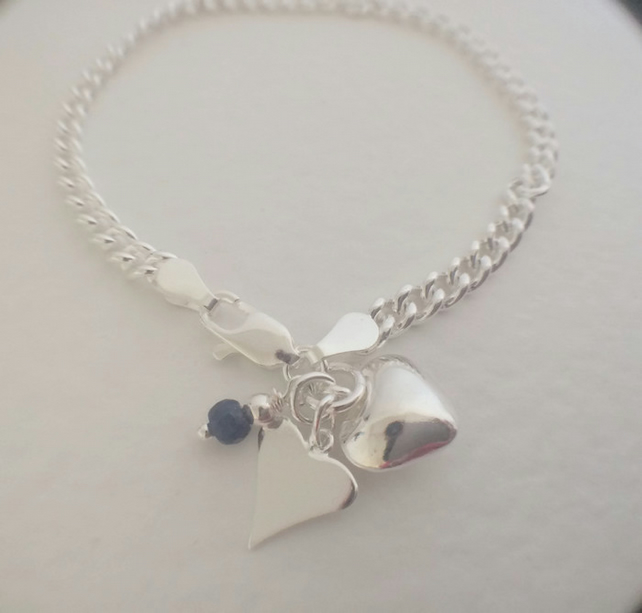 Sterling Silver Blue Sapphire Hearts Charm Bracelet Personalised Birthstone