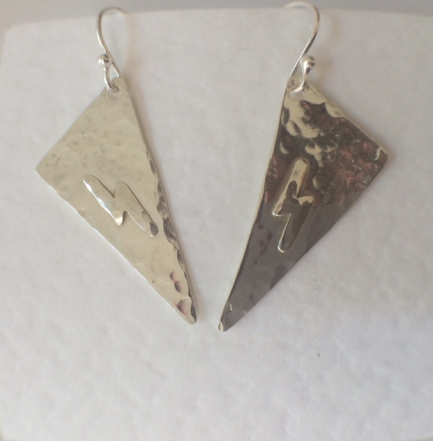 Sterling Silver Geometric Dangle Triangle Earrings Long Triangular Beaten Silver