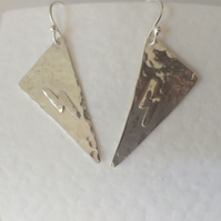 Long Sterling Silver Geometric Triangle Earrings