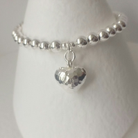 Sterling Silver Beaded Ball Heart Charm Bracelet, 925  Beaded Ball Bracelet