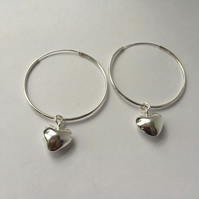 Hoop Earrings with Heart Charm Sterling Silver Dangle Earrings  Interchangeable