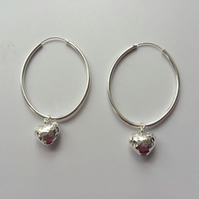 Sterling Silver Large Hoop Earrings Interchangeable Heart Charm Earrings