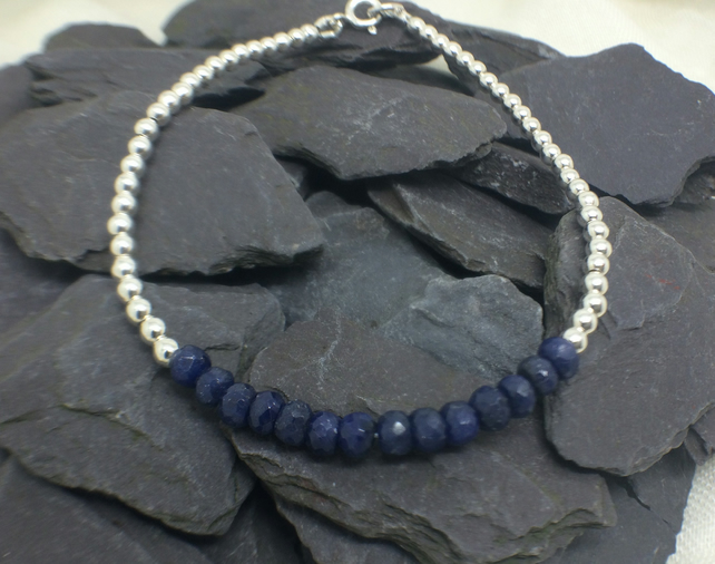 Blue Sapphire Gemstone Sterling Silver Beaded Bar Bracelet  September Birthstone