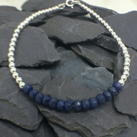 Blue Sapphire Gemstone Sterling Silver Beaded Bracelet